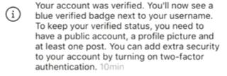 Como ter conta verificada no Instagram - Mensagem de conta verificada